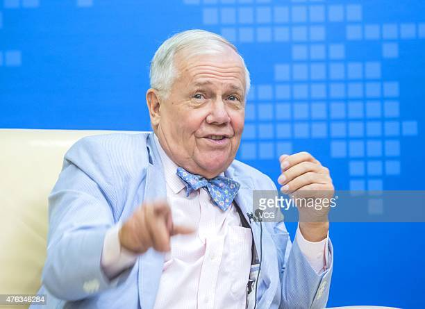 Jim Rogers American businessman investor and author attends the Xinhuanet Guest Will at Xinhuanet Fujian Branch on June 7 2015 in Fuzhou Fujian...