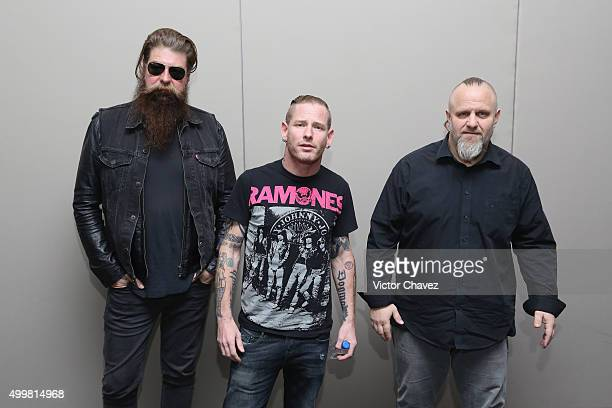 Jim Root Corey Taylor and Shawn Crahan 'Clown' of Slipknot attend a press conference to present the Knot Fest 2015 Mexico City at St Regis Hotel on...