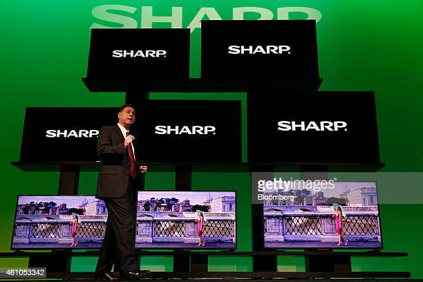 Jim Sanduski president of Sharp Electronics Marketing Corp of America speaks about the Sharp 4K Ultra HD television lineup during the 2015 Consumer...