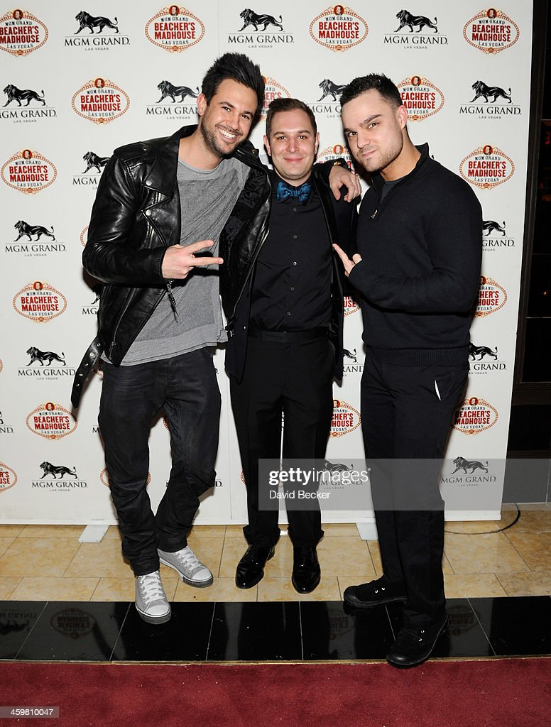 Jim Saviano, Brett Hyman and Jamie Iovine aka DJ Eye arrive at the opening weekend celebration at Beacher's Madhouse Las Vegas at the MGM Grand Hotel/Casino on December 30, 2013 in Las Vegas, Nevada.