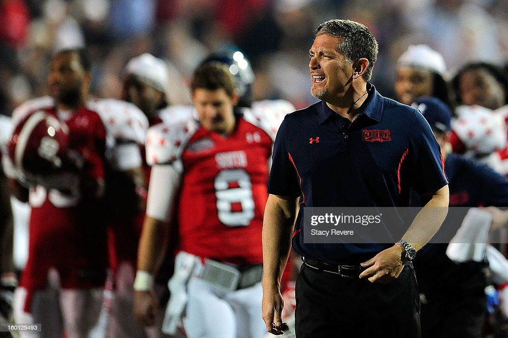 Jim Schwartz, head coach of the South squad, argues an official's call during the Senior Bowl at Ladd Peebles Stadium on January 26, 2013 in Mobile, Alabama.