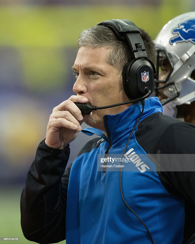 Jim Schwartz of the Detroit Lions looks on during the game against the Minnesota Vikings on December 29, 2013 at Mall of America Field at the Hubert H. Humphrey Metrodome in Minneapolis, Minnesota.