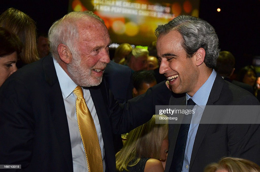 Jim Simons, chairman and founder of Renaissance Technologies LLC, left, speaks with Brett Zbar, partner at Aisling Capital, at the Robin Hood Foundation Gala in New York, U.S., on Monday, May 13, 2013. The annual event raises money for the Robin Hood Foundation, which funds and partners with programs to alleviate poverty in the lives of New Yorkers. Photographer: Amanda Gordon/Bloomberg via Getty Images