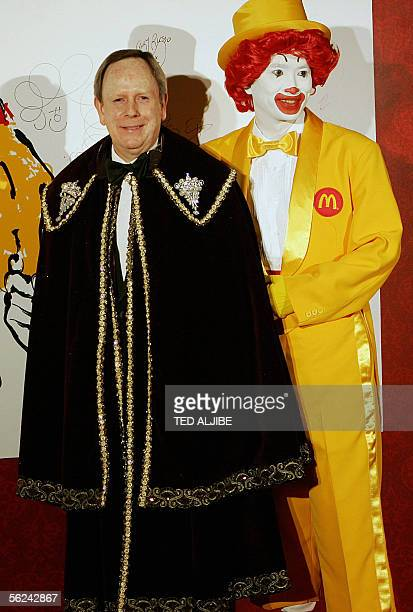 Jim Skinner Chief Executive Officer of McDonald's corporation poses for a photo with Ronald MacDonald prior to the gala dinner of the World...