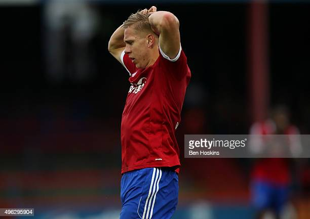 Jim Stevenson of Aldershot reacts after seeing his shot saved during The Emirates FA Cup First Round match between Aldershot Town and Bradford City...