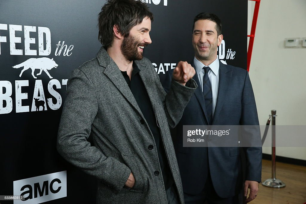 Jim Sturgess (L) and David Schwimmer attend the New York Screening of 'Feed The Beast' at Angelika Film Center on May 23, 2016 in New York City.