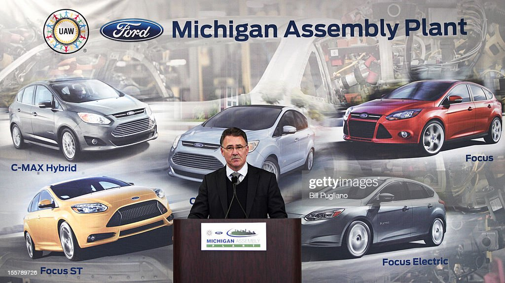 Jim Tetreault, Vice President of Ford North America Manufacturing, speaks an event celebrating the launch of the C-MAX Energi plug-in hybrid at the Michigan Assembly Plant November 8, 2012 in Wayne, Michigan. The plant is the only one in the world that builds vehicles with five different fuel efficient powertrains on the same line.
