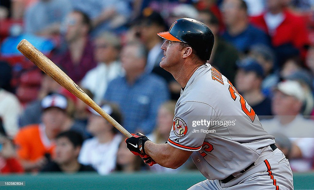 <a gi-track='captionPersonalityLinkClicked' href=/galleries/search?phrase=Jim+Thome&family=editorial&specificpeople=202878 ng-click='$event.stopPropagation()'>Jim Thome</a> #25 of the Baltimore Orioles knocks in the winning run in the 12th inning against the Boston Red Sox for a 9-6 win at Fenway Park on September 22, 2012 in Boston, Massachusetts.