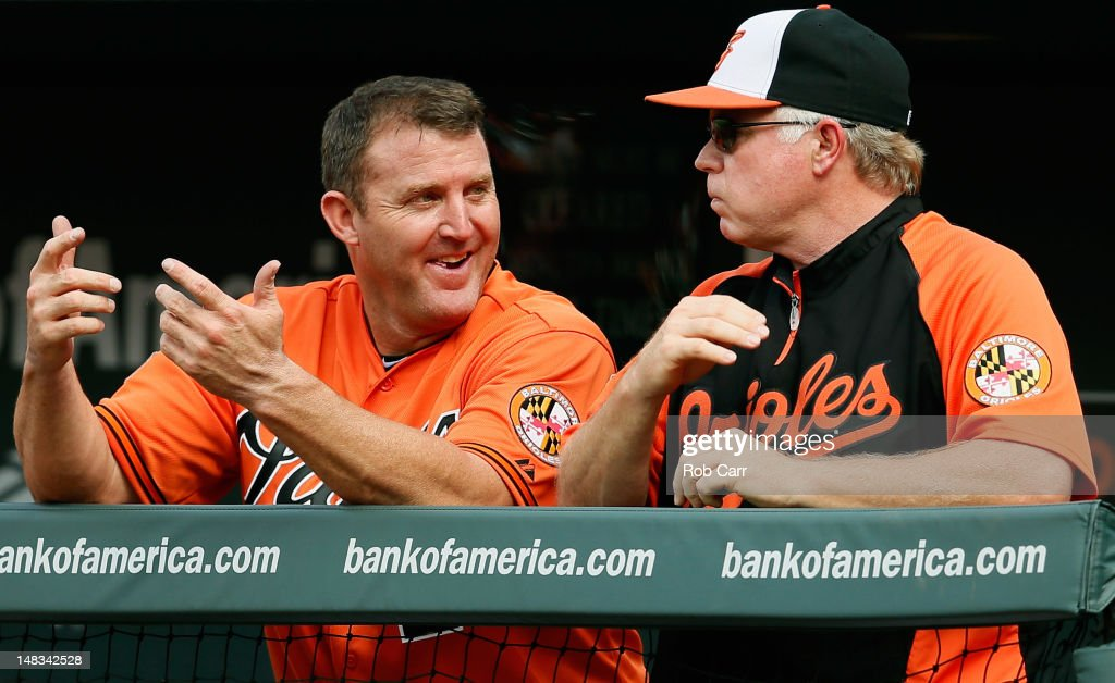 <a gi-track='captionPersonalityLinkClicked' href=/galleries/search?phrase=Jim+Thome&family=editorial&specificpeople=202878 ng-click='$event.stopPropagation()'>Jim Thome</a> #25 of the Baltimore Orioles (L) talks with manager <a gi-track='captionPersonalityLinkClicked' href=/galleries/search?phrase=Buck+Showalter&family=editorial&specificpeople=208183 ng-click='$event.stopPropagation()'>Buck Showalter</a> in the dugout during the third inning against the Detroit Tigers at Oriole Park at Camden Yards on July 14, 2012 in Baltimore, Maryland.