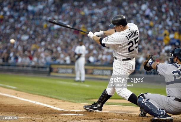 Jim Thome of the Chicago White Sox makes a hit during the game against the New York Yankees on August 9 2006 at US Cellular Field in Chicago Illinois...