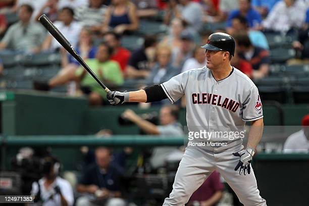 Jim Thome of the Cleveland Indians at bat against the Texas Rangers at Rangers Ballpark in Arlington on September 14 2011 in Arlington Texas