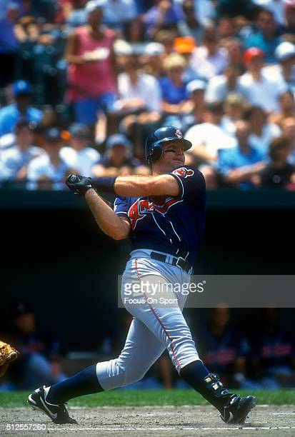 Jim Thome of the Cleveland Indians bats against the Baltimore Orioles during a Major League Baseball game circa 1997 at Oriole Park at Camden Yards...