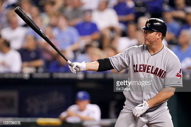 Jim Thome of the Cleveland Indians bats during a game against the Kansas City Royals at Kauffman Stadium on September 2 2011 in Kansas City Missouri