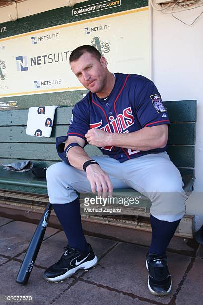 Jim Thome of the Minnesota Twins sitting in the dugout prior to the game against the Oakland Athletics at the Oakland Coliseum on June 5 2010 in...