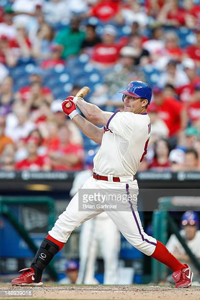 Jim Thome of the Philadelphia Phillies hits a home run in the bottom of the ninth inning to win the game against the Tampa Bay Rays in interleague...