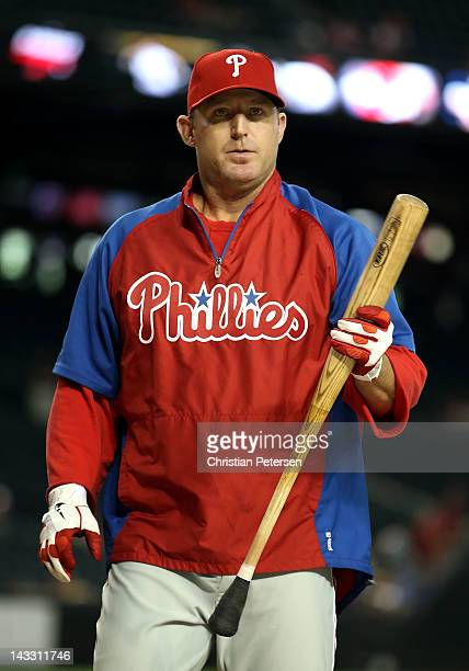 Jim Thome of the Philadelphia Phillies takes batting practice before the MLB game against the Arizona Diamondbacks at Chase Field on April 23 2012 in...