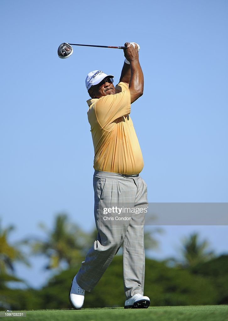 Jim Thorpe plays from the second tee during the first round of the Mitsubishi Electric Championship at Hualalai Golf Club on January 18, 2013 in Ka'upulehu-Kona, Hawaii.