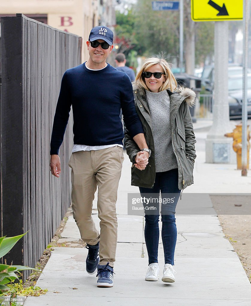 Jim Toth and Reese Witherspoon are seen in Venice on January 10 2015 in Los Angeles California