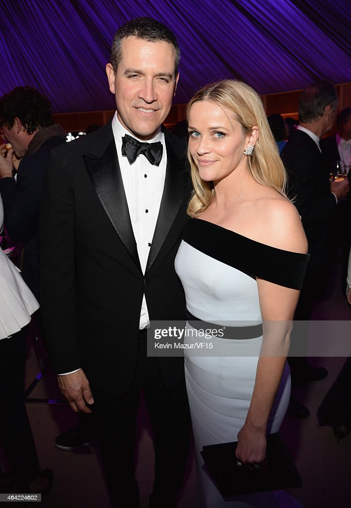 Jim Toth and Reese Witherspoon attend the 2015 Vanity Fair Oscar Party hosted by Graydon Carter at the Wallis Annenberg Center for the Performing...