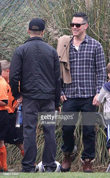 Jim Toth and Ryan Phillippe attend a soccer game in Pacific Palisades on December 8 2012 in Los Angeles California