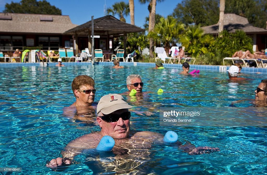 Jim Walker from upstate New York relaxes in one of the swimming pools at Cypress Cove Nudist Resort Spa Feb 19 2014 The nudist resort in Kissimmee...