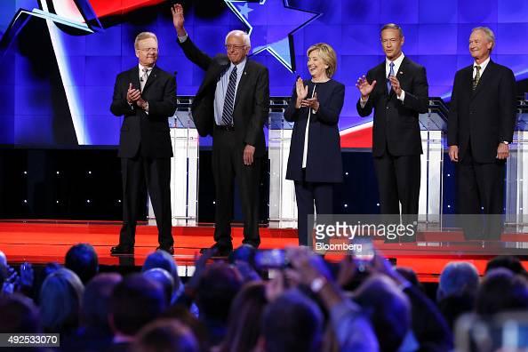 Jim Webb former Senator from Virginia from left Senator Bernie Sanders an independent from Vermont Hillary Clinton former US secretary of state...