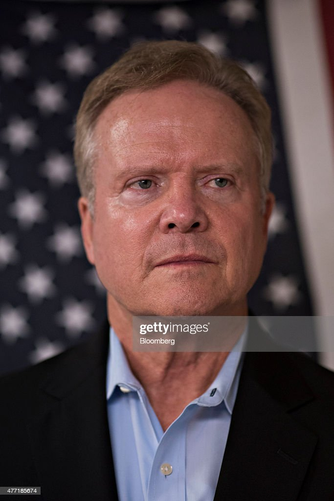 <a gi-track='captionPersonalityLinkClicked' href=/galleries/search?phrase=Jim+Webb&family=editorial&specificpeople=3986302 ng-click='$event.stopPropagation()'>Jim Webb</a>, former senator from Virginia, listens during an Urbandale Democrats Flag Day gathering in Urbandale, Iowa, U.S., on Sunday, June 14, 2015. Webb is a 69-year-old Vietnam War veteran who served as U.S. Secretary of the Navy under Ronald Reagan and represented Virginia in the U.S. Senate for one term from 2007 to 2013. Photographer: Daniel Acker/Bloomberg via Getty Images