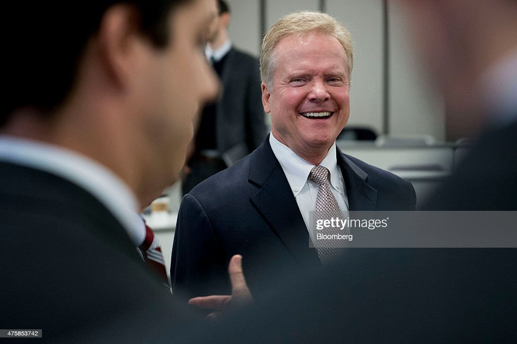 <a gi-track='captionPersonalityLinkClicked' href=/galleries/search?phrase=Jim+Webb&family=editorial&specificpeople=3986302 ng-click='$event.stopPropagation()'>Jim Webb</a>, former senator from Virginia, smiles while speaking to an attendee at the George Mason University School of Policy, Government, and International Affairs in Arlington, Virginia, U.S., on Thursday, June 4, 2015. Webb, a possible 2016 U.S. democratic presidential candidate, said the U.S. needs a 'clearly articulated foreign policy statement' during his speech. Photographer: Andrew Harrer/Bloomberg via Getty Images