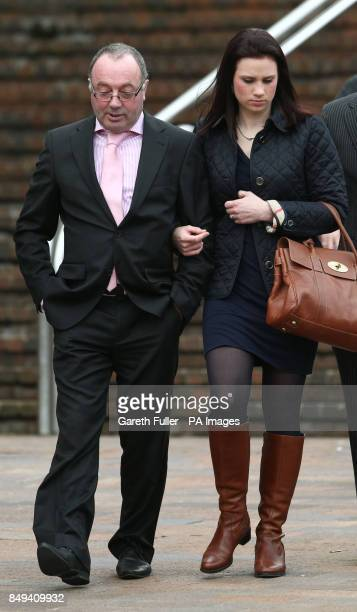 Jim Wilkinson father of Natalie Esack accompanied by daughterinlaw Holly Wilkinson leaves Maidstone Crown Court in Kent after Ivan Esack was found...
