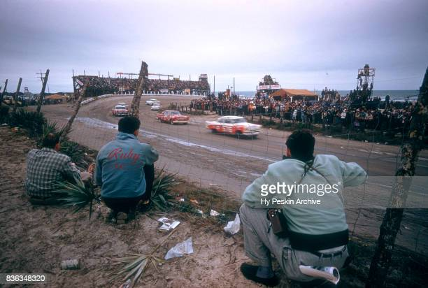 Jim Wilson in the Dodge car races during the Daytona Beach and Road Course on February 26 1956 in Daytona Beach Florida
