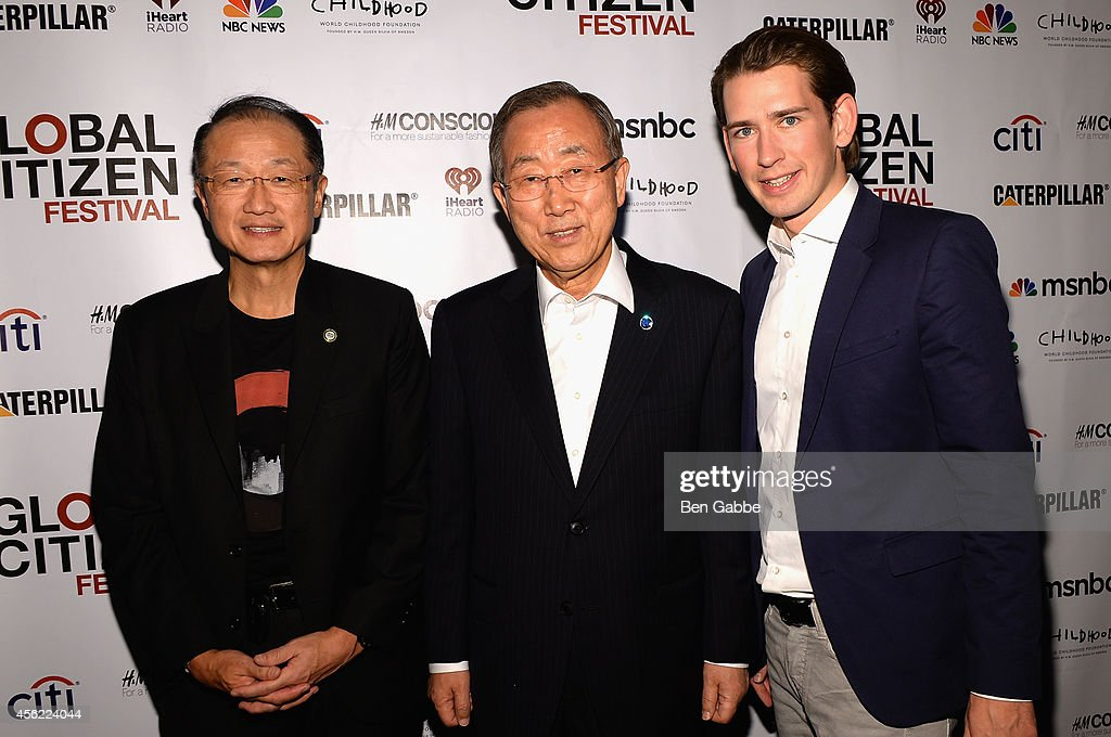 Jim Yong Kim, Ban Ki-Moon and Sebastian Kurz attend the 2014 Global Citizen Festival to end extreme poverty by 2030 at Central Park on September 27, 2014 in New York City.