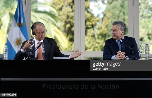 Jim Yong Kim President of The World Bank and President of Argentina Mauricio Macri looks on during a press conference as part of the official visit...