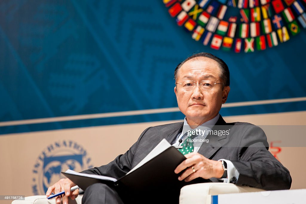 Jim Yong Kim president of the World Bank Group attends a panel discussion on climate change during the World Bank Group and International Monetary...