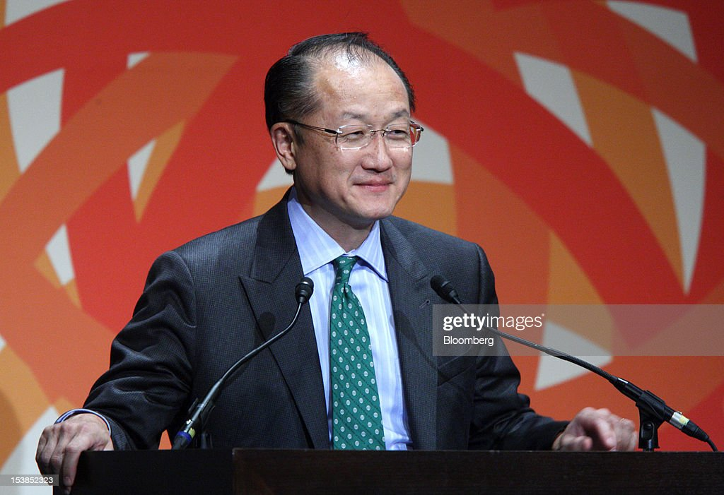 <a gi-track='captionPersonalityLinkClicked' href=/galleries/search?phrase=Jim+Yong+Kim&family=editorial&specificpeople=2302483 ng-click='$event.stopPropagation()'>Jim Yong Kim</a>, president of the World Bank Group, delivers a speech at the Sendai Dialogue on the sidelines of the Annual Meetings of the International Monetary Fund (IMF) and the World Bank Group in Sendai City, Miyagi Prefecture, Japan, on Wednesday, Oct. 10, 2012. The world's finance ministers and central bank governors are gathering this week in Tokyo for the annual meetings of the IMF and the World Bank as the rebound from the deepest global recession since World War II stagnates. Photographer: Tomohiro Ohsumi/Bloomberg via Getty Images