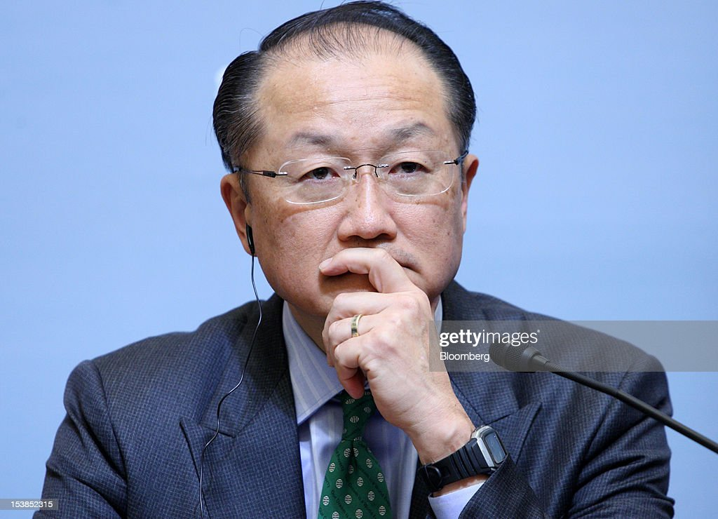<a gi-track='captionPersonalityLinkClicked' href=/galleries/search?phrase=Jim+Yong+Kim&family=editorial&specificpeople=2302483 ng-click='$event.stopPropagation()'>Jim Yong Kim</a>, president of the World Bank Group, listens during a joint news conference with Koriki Jojima, Japan's finance minister, unseen, at the Sendai Dialogue on the sidelines of the Annual Meetings of the International Monetary Fund (IMF) and the World Bank Group in Sendai City, Miyagi Prefecture, Japan, on Wednesday, Oct. 10, 2012. The world's finance ministers and central bank governors are gathering this week in Tokyo for the annual meetings of the IMF and the World Bank as the rebound from the deepest global recession since World War II stagnates. Photographer: Tomohiro Ohsumi/Bloomberg via Getty Images