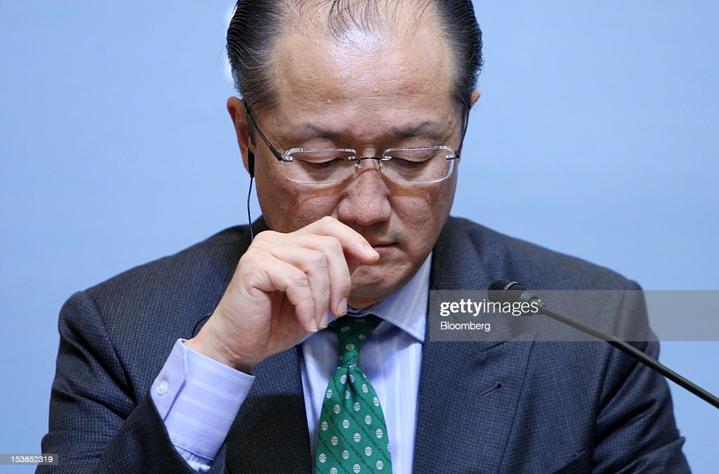 <a gi-track='captionPersonalityLinkClicked' href=/galleries/search?phrase=Jim+Yong+Kim&family=editorial&specificpeople=2302483 ng-click='$event.stopPropagation()'>Jim Yong Kim</a>, president of the World Bank Group, pauses during a joint news conference with Koriki Jojima, Japan's finance minister, unseen, at the Sendai Dialogue on the sidelines of the Annual Meetings of the International Monetary Fund (IMF) and the World Bank Group in Sendai City, Miyagi Prefecture, Japan, on Wednesday, Oct. 10, 2012. The world's finance ministers and central bank governors are gathering this week in Tokyo for the annual meetings of the IMF and the World Bank as the rebound from the deepest global recession since World War II stagnates. Photographer: Tomohiro Ohsumi/Bloomberg via Getty Images