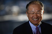 Jim Yong Kim president of the World Bank Group reacts during a Bloomberg Television interview at the World Economic Forum in Davos Switzerland on...