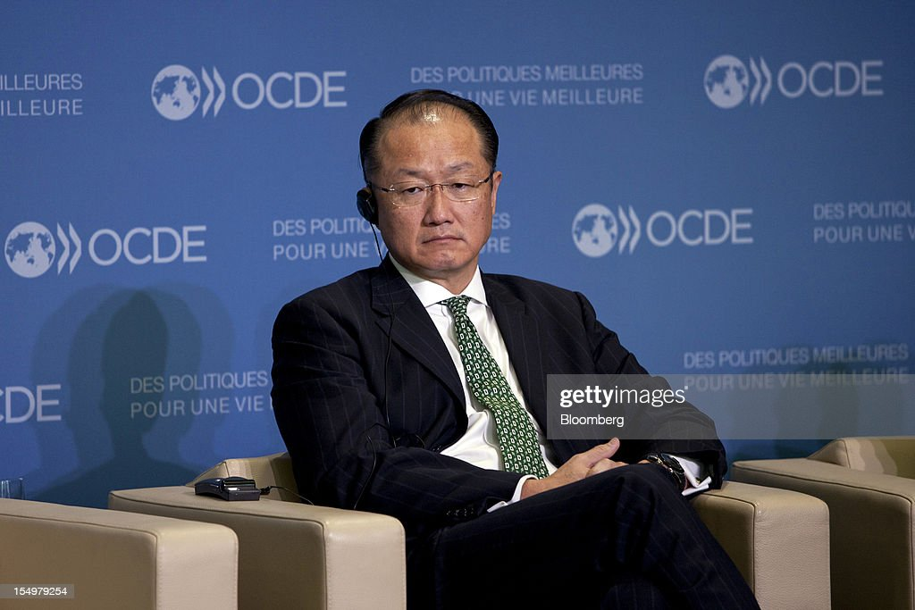 <a gi-track='captionPersonalityLinkClicked' href=/galleries/search?phrase=Jim+Yong+Kim&family=editorial&specificpeople=2302483 ng-click='$event.stopPropagation()'>Jim Yong Kim</a>, president of the World Bank Group, sits and listens during a news conference following a meeting hosted by the Organization for Economic Cooperation and Development (OECD) in Paris, France, on Monday, Oct. 29, 2012. French President Francois Hollande said he wants the euro group of finance ministers to find a 'durable' solution to Greece's debt problems at their November meeting. Photographer: Balint Porneczi/Bloomberg via Getty Images