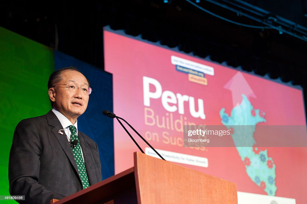 Jim Yong Kim president of the World Bank Group speaks at the World Bank Group and International Monetary Fund annual meetings in Lima Peru on...