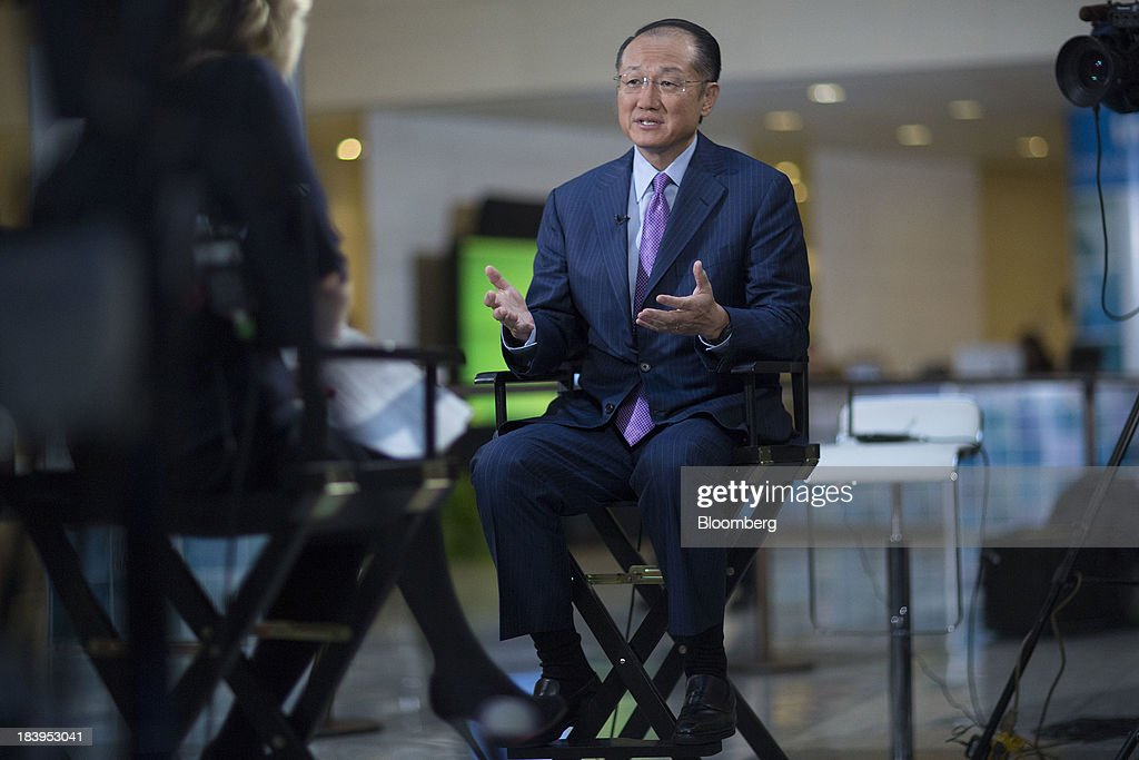 Jim Yong Kim, president of the World Bank Group, speaks during a Bloomberg Television interview at the International Monetary Fund (IMF) and World Bank Group Annual Meetings in Washington, D.C., U.S., on Thursday, Oct. 10, 2013. Kim said the Federal Reserve's decision to delay its tapering of monthly bond purchases creates an opportunity for developing nations to pursue fiscal reforms ahead of increases in interest rates. Photographer: Andrew Harrer/Bloomberg via Getty Images