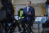 Jim Yong Kim president of the World Bank Group speaks during a Bloomberg Television interview at the International Monetary Fund and World Bank Group...