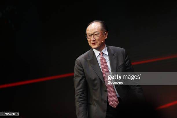 Jim Yong Kim president of the World Bank Group speaks during the Milken Institute Global Conference in Beverly Hills California US on Monday May 1...