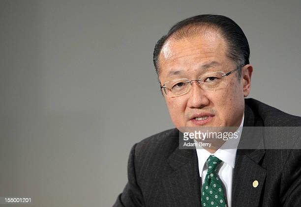 Jim Yong Kim president of the World Bank speaks at a news conference after a meeting on October 30 2012 at the German federal chancellery in Berlin...
