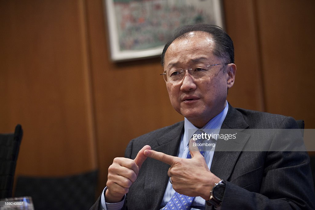 <a gi-track='captionPersonalityLinkClicked' href=/galleries/search?phrase=Jim+Yong+Kim&family=editorial&specificpeople=2302483 ng-click='$event.stopPropagation()'>Jim Yong Kim</a>, president of the World Bank, speaks during an interview at the organization's headquarters in Washington, D.C., U.S., on Wednesday, Jan. 9, 2013. The World Bank can make a difference in areas such as climate change, education and health, Kim said, as he crafts a strategy for the poverty-fighting lender. Photographer: Drew Angerer/Bloomberg via Getty Images