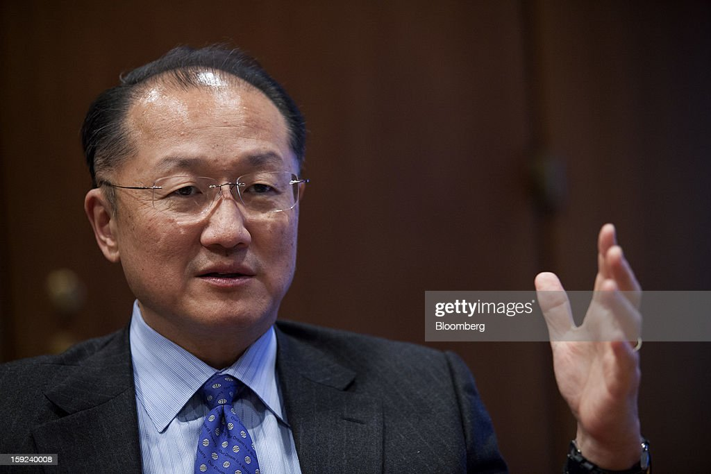 Jim Yong Kim, president of the World Bank, speaks during an interview at the organization's headquarters in Washington, D.C., U.S., on Wednesday, Jan. 9, 2013. The World Bank can make a difference in areas such as climate change, education and health, Kim said, as he crafts a strategy for the poverty-fighting lender. Photographer: Drew Angerer/Bloomberg via Getty Images