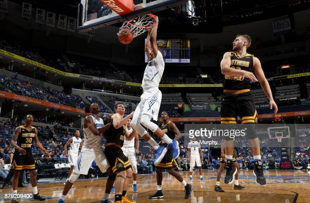 Jimario Rivers of the Memphis Tigers dunks the ball against the Northern Kentucky Norse on November 25 2017 at FedExForum in Memphis Tennessee...