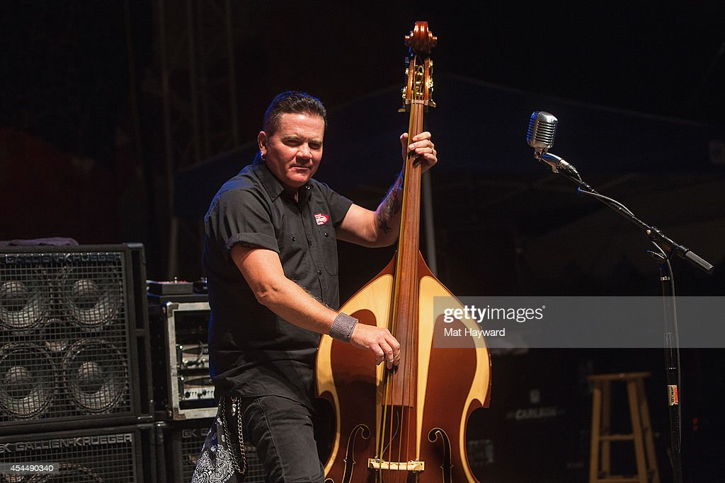 Jimbo Wallace of Reverend Horton Heat performs on stage during day 3 of the Bumbershoot music and arts festival at Seattle Center on September 1, 2014 in Seattle, Washington.