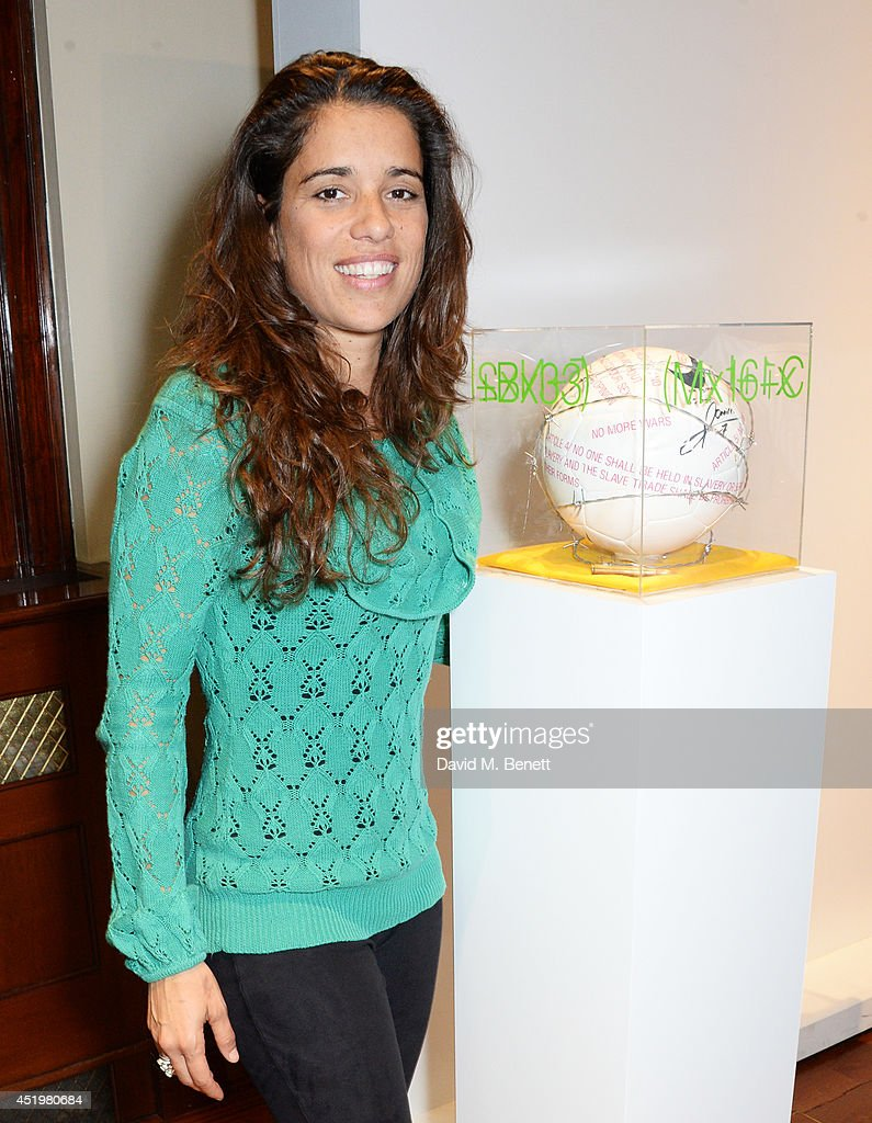 Jimena Paratcha, Founding Trustee of ABC TRUST, attends 'The Art Of Futebol' charity auction in support of Action for Brazil's Children Trust at the Embassy of Brazil on July 10, 2014 in London, England.