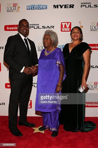 Jimi Bani Bonita Mabo and Deborah Mailman arrives at the 2013 Logie Awards at the Crown Palladium on April 7 2013 in Melbourne Australia