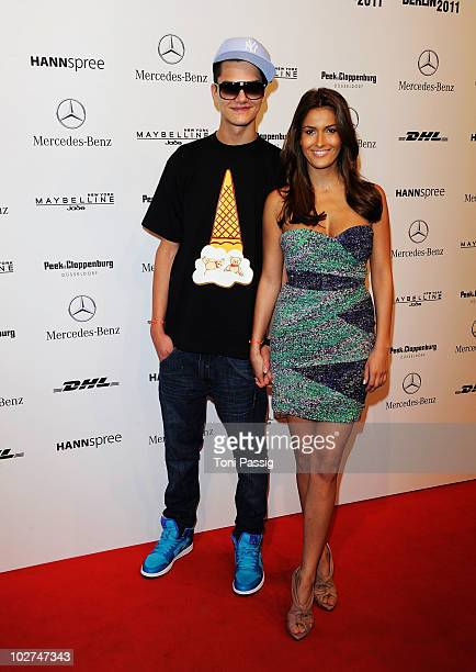 Jimi Blue Ochsenknecht and girlfriend Joana arrive at the Designer For Tomorrow Show during the Mercedes Benz Fashion Week Spring/Summer 2011 at...